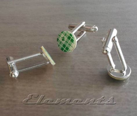Silver Plated Cufflink Fittings With Self Adhesive Base Backs
